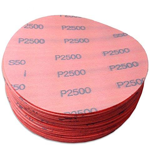 5 Inch 2500 Grit Hook and Loop Wet  Dry Auto Body Film Sanding Discs 50 Pack