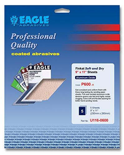 Eagle U116-0600 - 9x11 Finkat Soft and Dry Sanding Sheets - Grit P600 - Job-Pak - 5 SheetsPack - 1 Pack