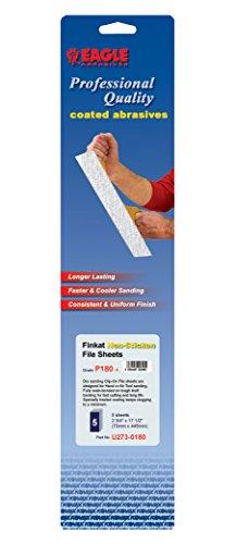 Eagle U273-0180 - Finkat Orbital Dry Sanding Sheets - 2 34 x 17 12 inch - Grit P180 - Job-Pak - 5 SheetsPack - 1 Pack