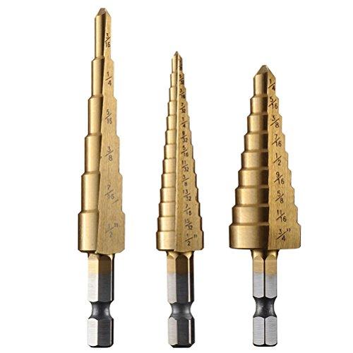 Drill ZMZ 410A Titanium Step Drill Bit Set 28 Sizes SAE  3-Piece Set