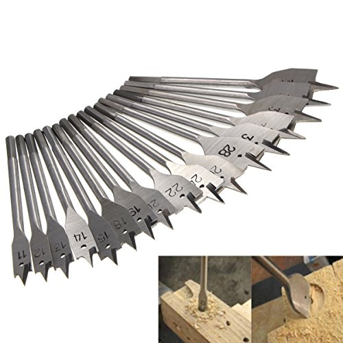 XNEMON 17-Piece Spade Drill Bit SetMachine Flat Woodworking Power Tools - All Metric Sizes Spade Drill Bit Assortment