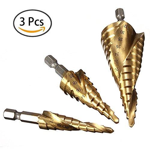 3Pcs-HSS-Spiral-Grooved-Step-Cone-Drills-Bit-4mm-12mm-20mm-32mm-Hole-Cut-New Drill