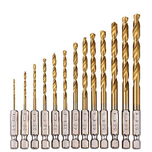 Zzanggu Titanium Coated Twist Drill Bit Set 15mm - 65mm High Speed Steel 14 Hex Shank Quick Change Drill Bits for Steel Wood Plastic13pcs