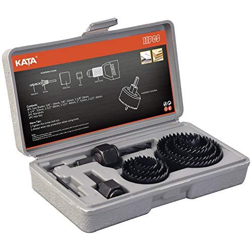 KATA 11PCS Hole Saw Kit 34-2-12 19-64mm with MandrelsHex KeyInstall Plate for WoodPVC BoardPlastic Plate Drilling
