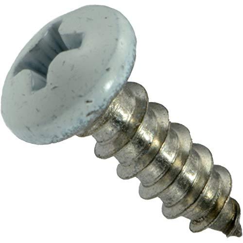 Hard-to-Find Fastener 014973208028 White Phillips Pan Sheet Metal Screws 8 x 12 Piece-100