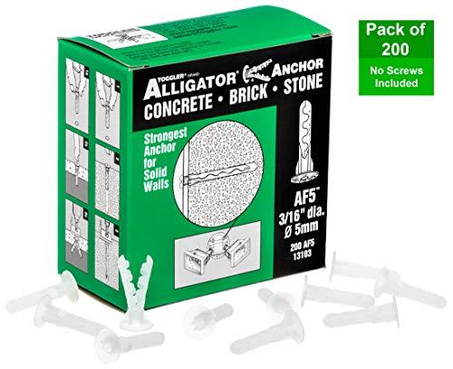 TOGGLER ALLIGATOR AF5 Flanged Anchor Polypropylene Made in US For 4 to 9 Fastener Sizes Pack of 200
