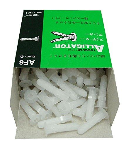 TOGGLER ALLIGATOR AF6 Flanged Anchor Polypropylene Made in US For 6 to 12 Fastener Sizes Pack of 100