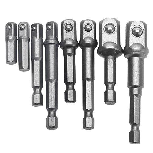 Topsky 8PCS Socket Adapter Impact Hex Shank Drill Bits Bar Set 14 38 12 Socket Sets