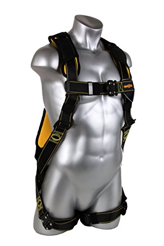 Guardian Fall Protection 21047 Cyclone Harness with QC ChestQC LegNo Waist BeltNon Construction BlackYellow