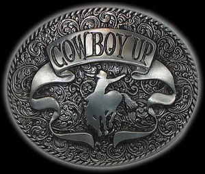 Large Cowboy Up Horse Brushed Silver Western Rodeo New Belt Buckle