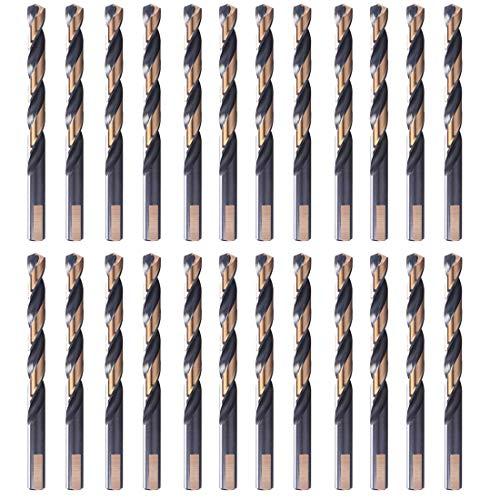 VALYRIANTOOL HSS Twist Drill Bits  24 Pcs Black and Gold Coated Drill Bits Set  1364 Inch 3-Flat Shank Jobber Drill Bits for Drilling on Mild Steel Copper Aluminum Zinc Alloy