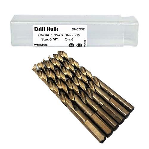 516-Inch Cobalt Steel M35 Jobber Length Twist Drill Bits for Hard Metal Stainless Steel Pack of 6