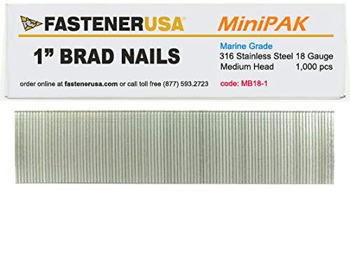 1 Brad Nails 18 Gauge 316 Stainless 1M MiniPak