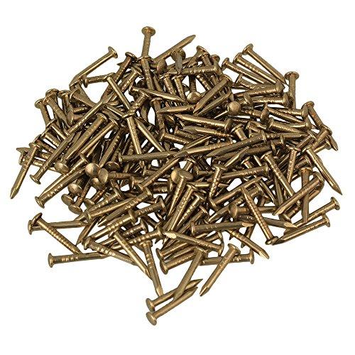 BQLZR 10mm Round Head Brass Antique Pure Copper Furniture Miniature Nails Pack of 100