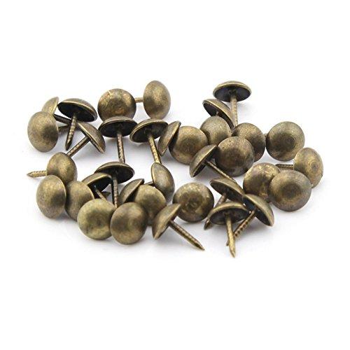 eMylo Pack of 100 7x11mm Upholstery Tacks Nails Metal Antique Bronze Decorative Tack Pushpins Doornail
