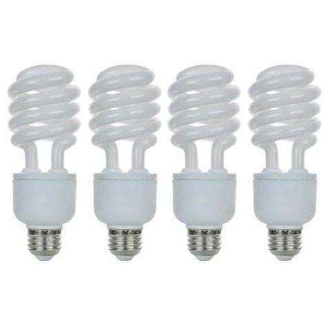Pack of 4 CFL 23 Watt Dimmable T3 Spiral Medium Base Warm White