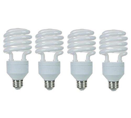 Pack of 4 CFL 32 Watt High Wattage T4 Spiral Medium Base Warm White