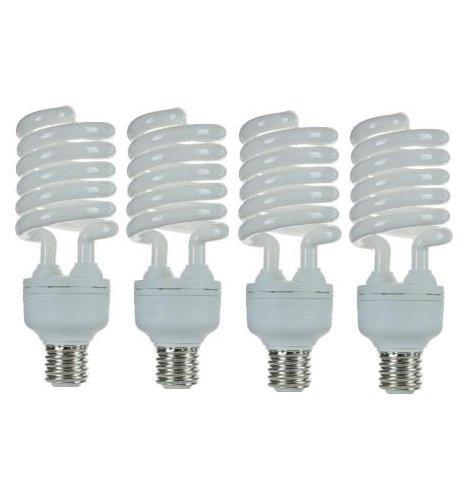 Pack of 4 CFL 65 Watt High Wattage T5 Spiral Medium Base 6500K Daylight White