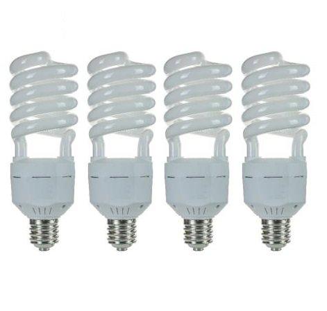 Pack of 4 CFL 65 Watt High Wattage T5 Spiral Mogul Base 6500K Daylight White