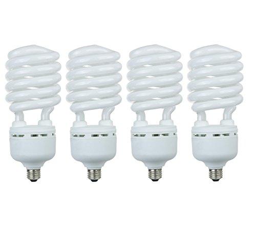 Pack of 4 CFL 85 Watt High Wattage T5 Spiral Medium Base 3000K Warm White