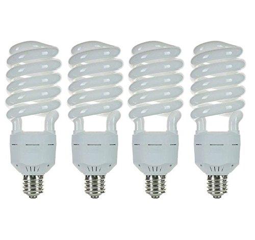 Pack of 4 CFL 85 Watt High Wattage T5 Spiral Mogul Base 6500K Daylight White