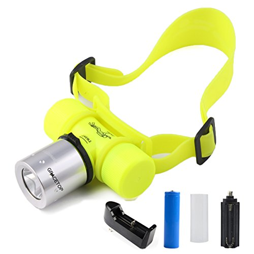 Gracetop 800LM CREE T6 LED Diving Headlamp Waterproof Flashlight Swimming Headlight Torch and 18650 battery and Charger
