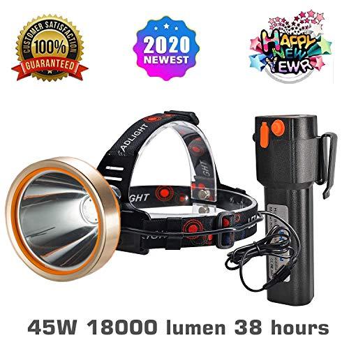 LED HeadlampSpotlight HeadlampSuper Bright 6000 Lumen Headlight withImproved Led HeadlampsRechargeable 18650 Flashlights18000mAhWaterproof LightCampingHikingMining LightHunting BLACK