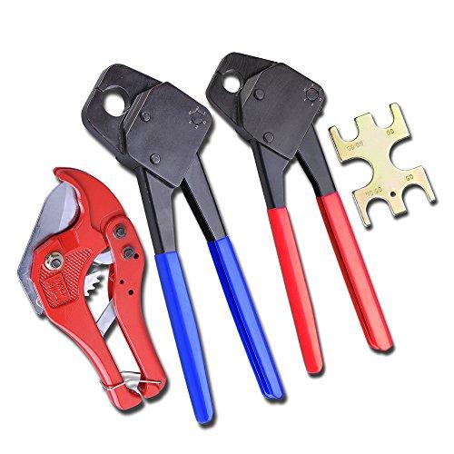 2 Pex Crimper 12 34 Gonogo Gauge with Ratchet Cutter 1 58 Crimping Plumbing Tools