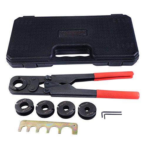 5 in1 Pex Crimper Kit Tool Copper Ring Crimping Plumbing Tool Gonogo Gauge Pipe 38 12 58 34 1