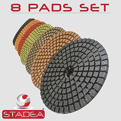 STADEA Premium Grade Wet 4 Diamond Polishing Pads 8 Pcs Set For GRANITE MARBLE STONE Polish