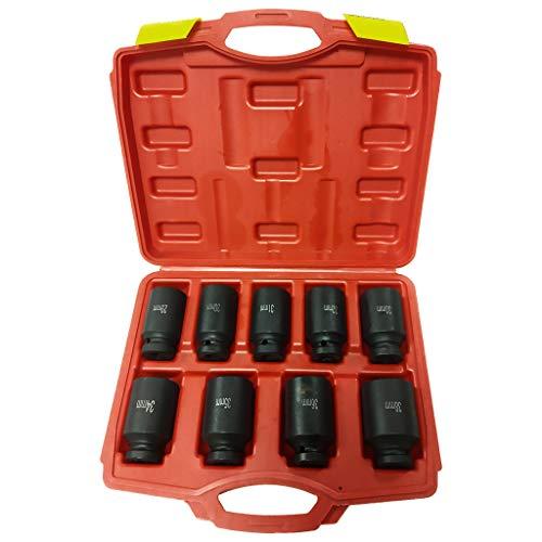 Drive Master Impact Socket Set Deep Spindle Axle Nut Socket Set 9Pcs 12 6 Point Metric 29-38mm Black