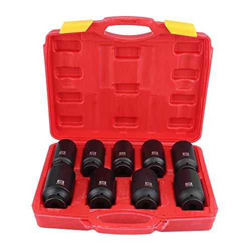 VEPEN Drive Axle Hub Nut Hex Socket Set 29mm 30mm 31mm 32mm 33mm 34mm 35mm 36mm 38mm 9Pcs 12 Inch