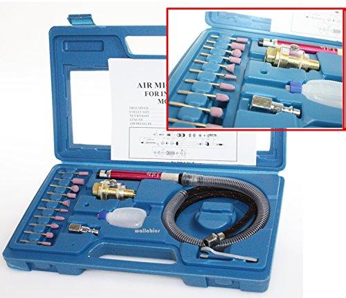 17pc 18 Micro Air Die Grinder Pencil Type Polishing Engraver Dremel Tool Kit