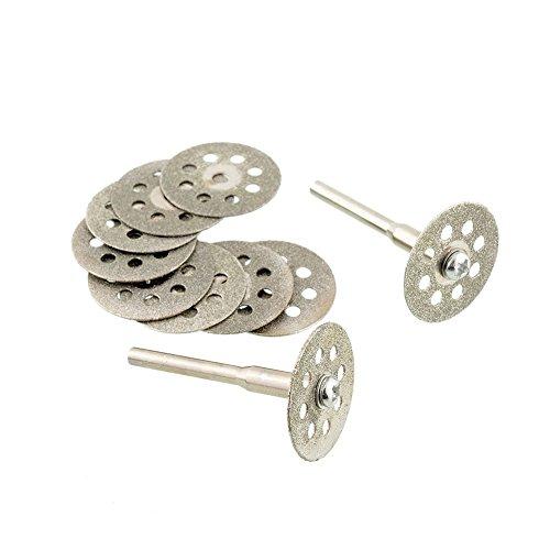 ZFE Mini Sharp 22mm Vented Rotary Diamond Glass Gemstones Cutting Discs Disksmandrel Dremel Tools DIY Pack Of 10Pcs