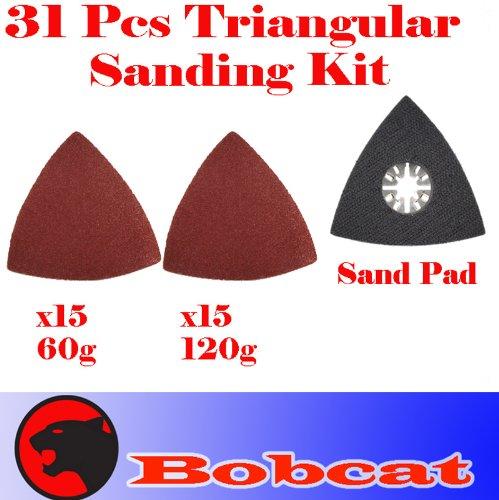 31 Pcs Triangular Sanding Kit Sanding Pad w loop backing for Fein Multimaster Bosch Multi-x Craftsman Nextec Dremel Multi-max Ridgid Dremel Chicago