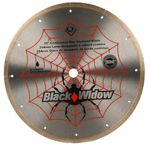 QEP 6-1008BW Black Widow 10 Wet Tile Saw Micro-Segmented Diamond Blade for Porcelain Marble Granite Ceramic Tile 58 Arbor Wet Cutting 6115 Maximum Rpm