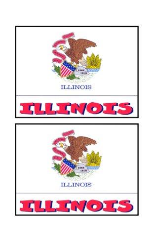 2 Souvenir Illinois State Flag Stickers Decal Laptop Phone Locker Toolbox Wall Stocking Stuffer