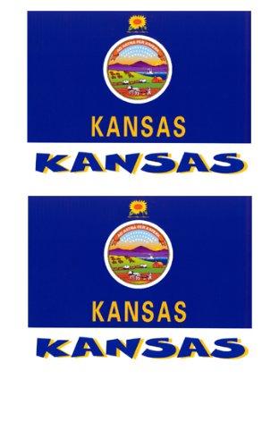 2 Souvenir Kansas State Flag Stickers Decal Laptop Phone Locker Toolbox Wall Stocking Stuffer