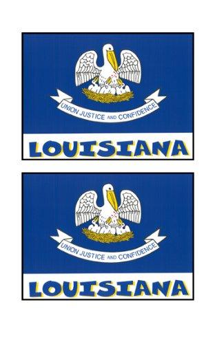 2 Souvenir Louisiana State Flag Stickers Decal Laptop Phone Locker Toolbox Wall Stocking Stuffer