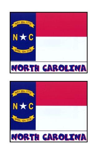 2 Souvenir North Carolina State Flag Stickers Decal Laptop Phone Locker Toolbox Wall Stocking Stuffer