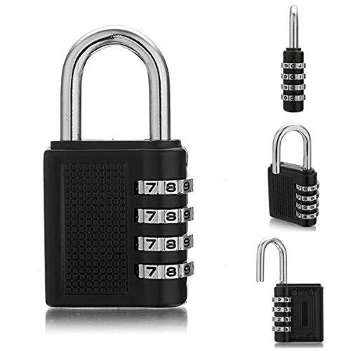 Tinksky 2pcs Waterproof 4-Digit Resettable Combination Password Locks Locker Toolbox Luggage Suitcase Padlocks - Size L Black