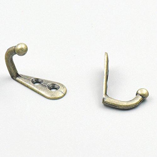Bluemoona 20 Pcs - Zinc Alloy Hooks Hangers 2 hole for Jewelry Chest Box Door Wardrobe Clothes Hat Towel 30mmx12mm12