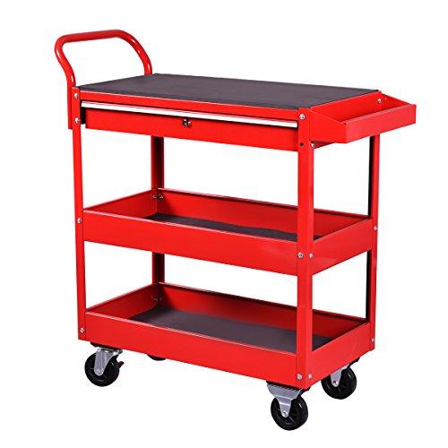 Goplus36-Inch Steel Tool Cart Rolling Tool Chest Box Wheels Trays w Locking Drawer Red