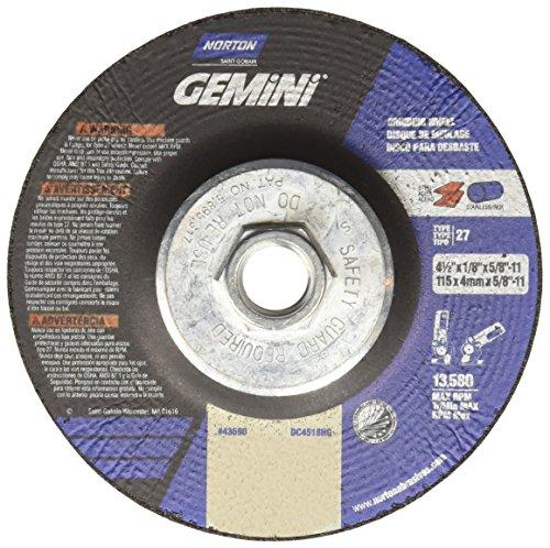 Norton Gemini Depressed Center Abrasive Wheel Type 27 Aluminium Oxide 58-11 Hub 4-12 Diameter x 18 Thickness   Pack of 10