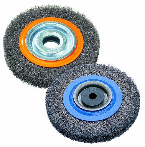 Walter 13B080 Stringer Bead Wheel Brush - 8 in Orange Abrasive Wheel Brush with Crimped Wires Round Hole Carbon Steel