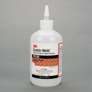 3M Scotch-Weld PR100 Cyanoacrylate Adhesive - Clear Liquid 1 lb Bottle - Shear Strength 3100 psi Tensile Strength 4900 psi - PR100 - 25939 PRICE is per BOTTLE