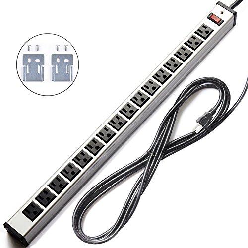 Bestten 16 Outlet Heavy Duty Metal Power Strip with 15-Foot Cord Silver