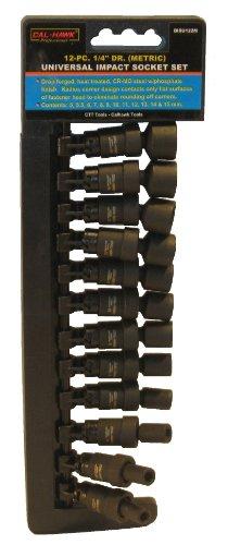 12-pc 14 Drive Universal Swivel Impact Socket Set - Metric