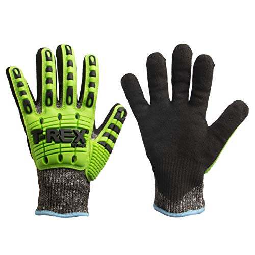 Magid Glove Safety TRX450S T-REX TRX450 Lightweight Knit Impact Glove - Cut Level A6 Black Small HPPE