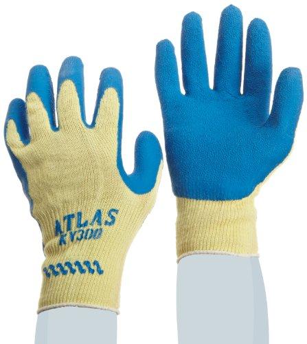 SHOWA Atlas KV300 Natural Rubber Palm Coating Glove 10 Gauge Seamless Kevlar Liner Cut Resistant Small Pack of 12 Pairs